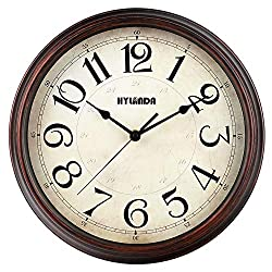 HYLANDA Wall Clocks Battery Operated 12 inch, Vintage Retro Quartz Round Wall Clock Silent Non Ticking, Decorative for Living Room Home Kitchen Office School