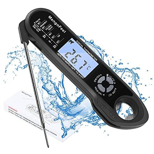 Instant Read Fleischthermometer,MangoFeel 2-in-1 Wasserdichtes Digitales Grillthermometer, mit faltbarem Fühler & Backofen-sicherem, verdrahtetem Fühler, für Ofen, Raucher, Grill, BBQ,Backen und Pute