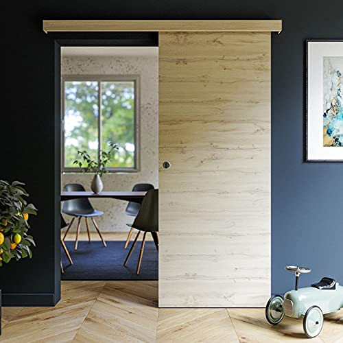 Coulicool - Porte coulissante revêtue décor Tokyo 83cm + un Kit comprenant le rail et l habillage rail (assorti au décor de la porte coulissante) - Haut.204 x Larg.83 x Ep.4 cm