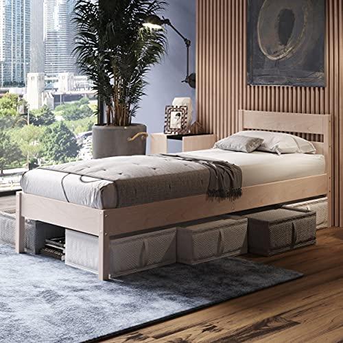 Holzbett 90x200 cm Külli Scandi Style aus unbehandeltem hartem FSC Birken Vollholz - über 700 kg - Einzelbett Bettgestell mit hohem Kopfteil - Kinderbett Jugendbett Gästebett