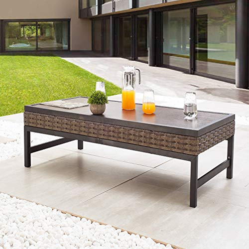 Festival Depot Metal Outdoor Side Coffee Table Patio Bistro Living Room Dining Table Wood Grain Top Wicker Rattan Furniture with Steel Legs Brown Black (Rectangle)