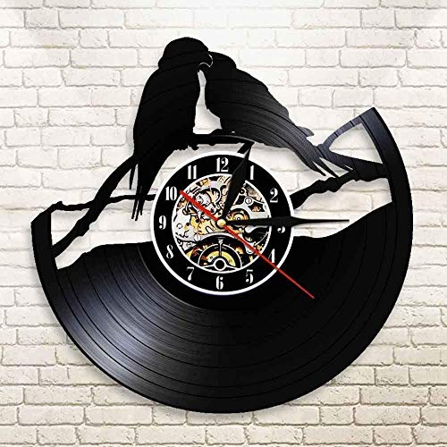 xiaoxong658 Vinyl Wanduhr Papagei Zweig Vinyl Schallplattenuhr Papagei Paar Vogelhaus Wand Art Deco Uhr Vogel Wanduhr Vogelliebhaber Tieruhr 30 × 30Cm