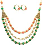 MDS Fashions National Flag Tri-Colour 3 Layer Silk Thread Necklace with Stone Balls