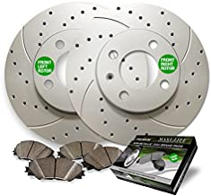 Front Premium Drilled and Slotted Brake Rotors and severe Duty Metallic Pads BAXMBKJ33422MDS