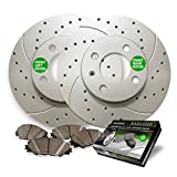 Front Premium Anti Rust Geomet Coated Drilled and Slotted Brake Rotors and severe Duty Metallic Pads MAXC1942MDS