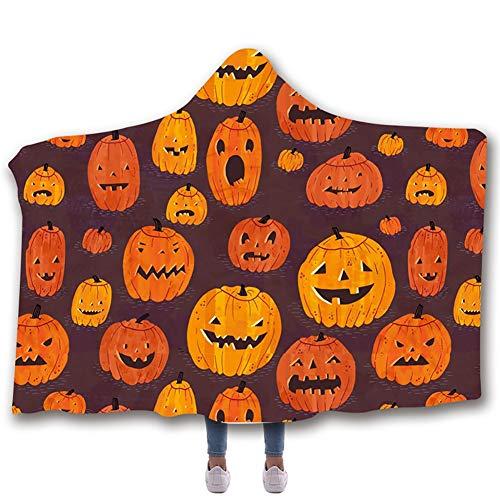 Manta con capucha, manta impresa digitalmente Halloween3D Manta con doble capa gruesa Manta para la siesta de la oficina del dormitorio,E,150 * 200cm