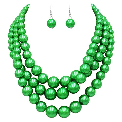 Rosemarie & Jubalee Women's Multi Strand Simulated Pearl St.Patrick's Day Green Necklace and Earrings Jewelry Set (Green)