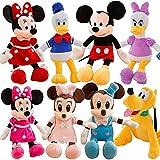 8 Habitaciones 30 cm-50 cm Mickey Mouse Minnie Donald Duck Disy Pluto Plush Peluche Juguetes de Felpa Muñeca de Felpa Regalo de cumpleaños para niños Set