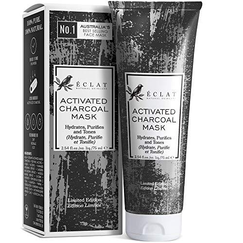 Mascarilla de Carbón Facial Eclat – Mascarilla Facial Carbón Activo con Carbón de Bambú Natural y Mezcla de 4 Arcillas Incluyendo Bentonita Caolín Francesa para Limpiar Poros y Eliminar Puntos Negros