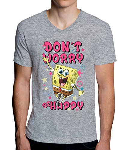 Spongebob Don't Worry Be Happy Funny Letters Graphic Design Men's V-Neck T-Shirt XX-Large