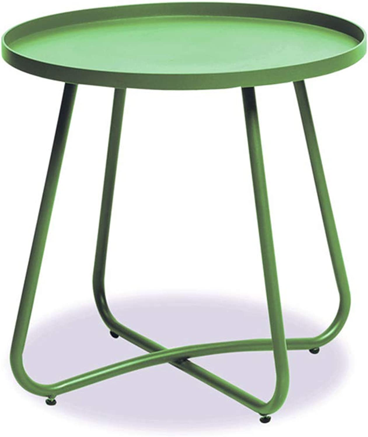 JCOCO Nordic Minimalist Small Table, Creative Personality Living Room Balcony Small Coffee Table Round Side Mini Coffee Table (color   Green)