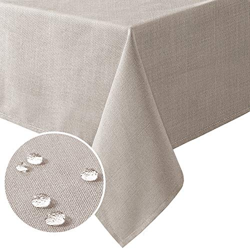 H.VERSAILTEX Linen Textured Table Cloths Rectangle 60 x 120 Inch Premium Solid Tablecloth Spill-Proof Waterproof Table Cover for Dining Buffet Feature Extra Soft and Thick Fabric Wrinkle Free, Taupe