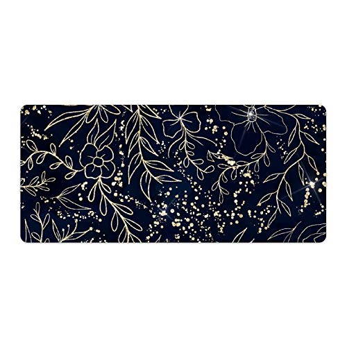 Extended Gaming Mouse Pad with Stitched Edges Waterproof Large Keyboard Mat Non-Slip Rubber Base Gold Glitter Floral Pattern Navy Blue Watercolor Desk Pad for Gamer Office Home 16x35 Inch