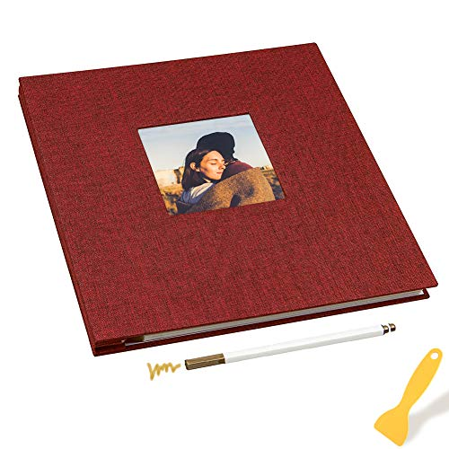 Album Fotografico Autoadesivo, Linen Cover,40 Pagine Magnetiche, Pagine Double Face, 11x10.6 inches, Con kit di accessori fai da te