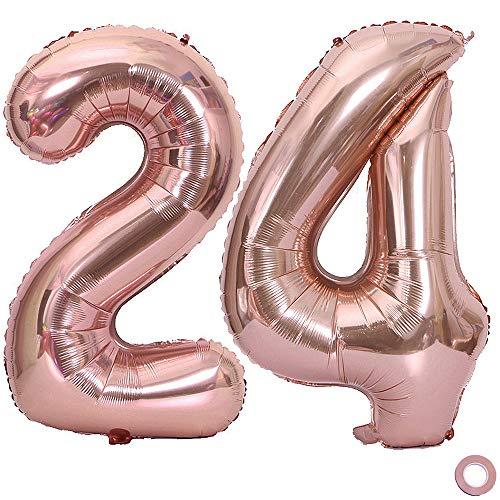 Juland Luftballon Zahl 24 Rosegold Geburtstag Folienballon Helium Folie Pinke Luftballons für Geburtstag Jubiläum 40 Zoll XXL- Riesenzahlen #24