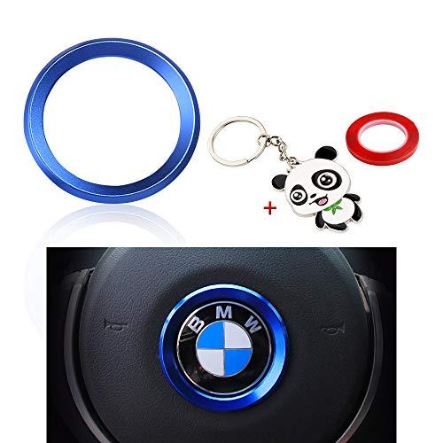 BLINGOOSE Volante Logo Emblema Copertura Decorazione Adesivo in Metallo per BMW 1 3 5 Serie X1 X2 X3 X5 X6 Accessori per la Decorazione dell'auto (Blu, Steeling)