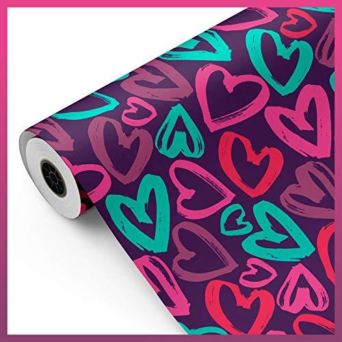 Bobina papel de regalo, rollo grande 62cm x 100m • CORAZONES C • Ideal para: Tiendas Negocios Comercios envolver regalos Cumpleaños Baby Shower Bodas Decoración [FP Fiesta Paper]