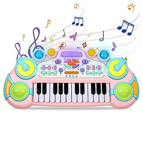 Cozybuy Piano Keyboard Toy for Toddlers, 24 Keys Piano Toy for Kids, Multifunctional Musical Instruments Kids Piano Keyboard Toy with Dynamic Lighting, Birthday Gifts for 1-6 Years Old Boys and Girls