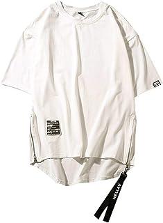 ESAILQ Men Shirt Summer Hip Hop Style Side Zipper Patchwork O-Neck Short Sleeve T-Shirt Top Mens t Shirts