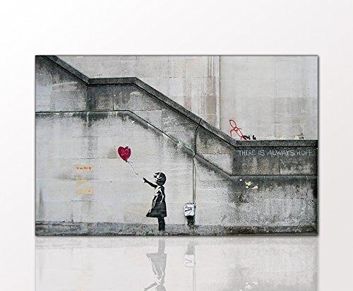 Berger Designs - Graffiti Street Art Wandbild von Banksy Ballon Girl auf Leinwand und Holzkeilrahmen handgefertigt in Deutschland (80 x 120 cm)