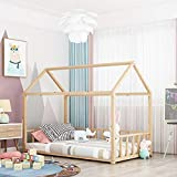 smart star Cama Infantil Tipo Montessori, Casita Madera Natural para niño y...