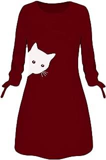 Women's Casual Cute Cat Print Dress O Neck Tunics Long Sleeve Swing Midi Dress Tie Knot Pullover S-5Xl
