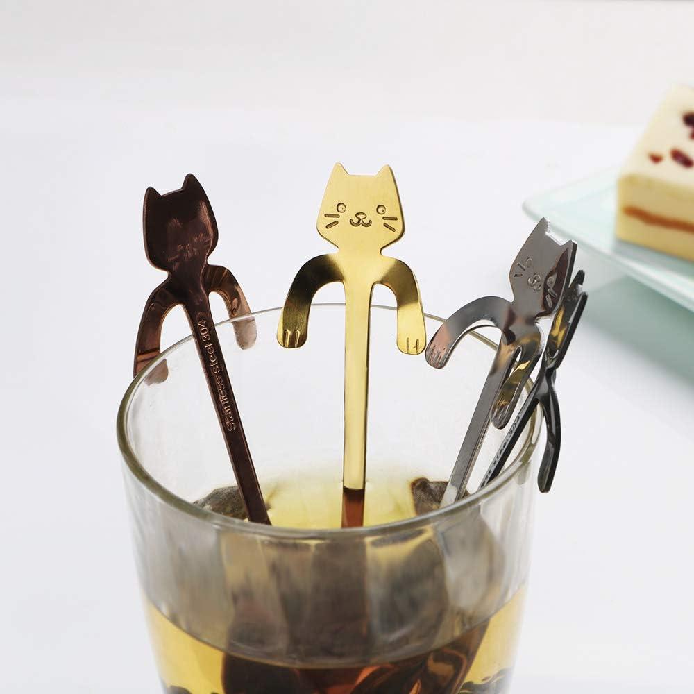 11,5 cm, acero inoxidable Cucharilla de caf/é en forma de gato CuiGuoPing