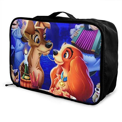 Lady and Tramp Travel Lage Bolsa de viaje ligera maleta portátil Bolsas para mujeres hombres niños impermeable gran capacidad bapa