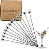 Cocktail Picks Stainless Steel Toothpicks - (12 Pack / 4 Inch) Martini Picks Reusable Fancy Metal...
