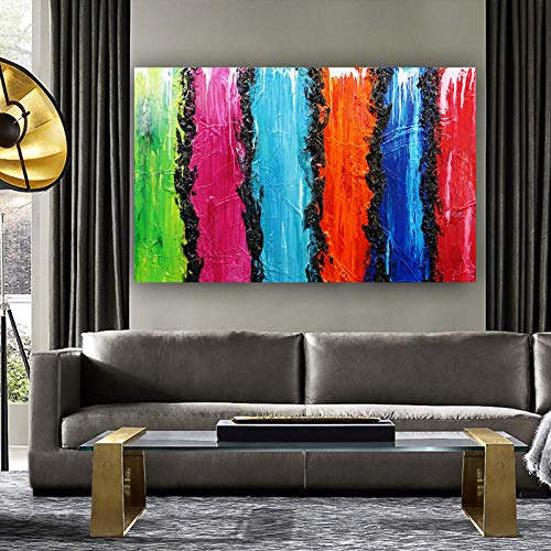 N / A Rainbow Colorful Large Size Abstract Oil Painting Canvas Picture Living Room Decoration Art Wall Home Frameless 40x65cm