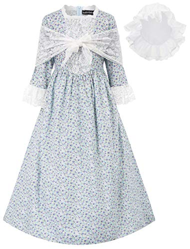Floral Colonial Girls Dress 19ths Prairie Pioneer Pilgrim Costume Blue Size 10Y