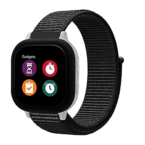 NOLIKO Compatible with Gizmo Watch Band Replacement for Kids Boys Girls, 20mm Small Size Woven Nylon Sport Accessories for Verizon Gizmo Gadget Watch 2 1, Black