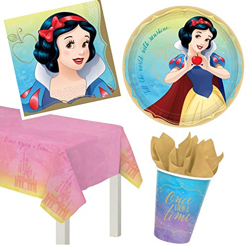 ParteePak Paquete de suministros para fiesta de princesa Blancanieves para 16 invitados con libro electrónico de planificación de fiestas