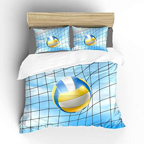 Beach Volleyball In Net On Background Of Blue Summer Sky Ultra Soft Bedding Sets Duvet Cover Set, Twin Size 2 Pieces with 1 Duvet Cover and 1 Pillowcase, Best Gift for Kids, Boys, Girls