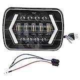 Akozon Faro anteriore per auto 300W 7in LED quadrato anteriore lampada di guida per Wrangler Cherokee XJ MR2 Celica 240SX