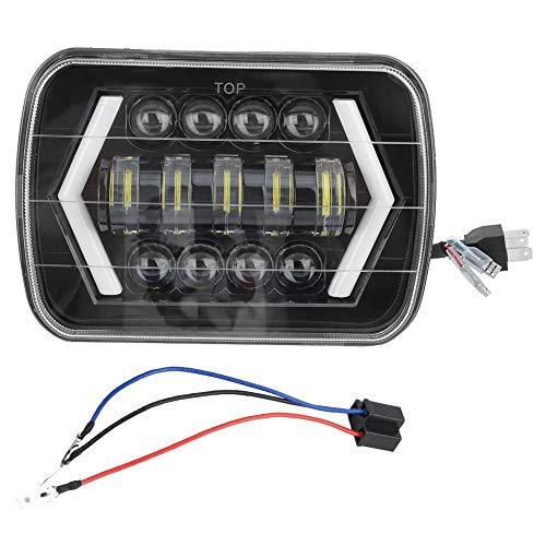 Faros delanteros de coche de 300 W 7 LED para faros delanteros de coche, luces largas y cercanas, lámpara frontal cuadrada de aluminio Shell apto para Jeep Wrangler