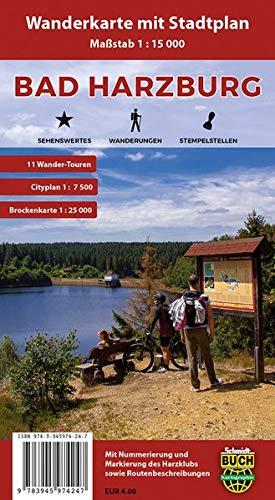 Bad Harzburg: Wanderkarte mit Stadtplan, Wander-Touren und Brockenkarte