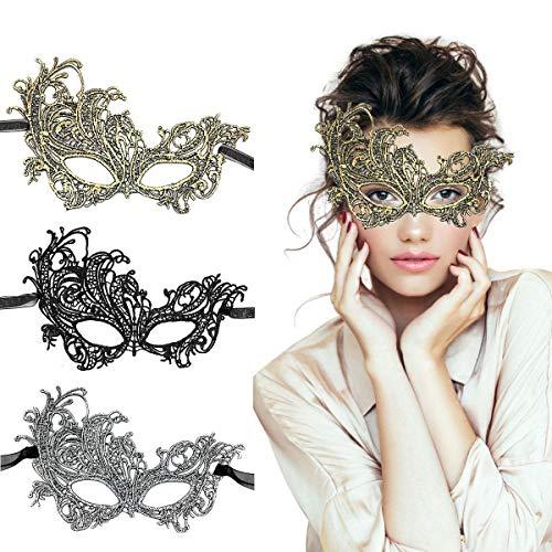 TreatMe Masquerade Mask - 3 Pack Women Venetian Mask Pretty Elegant Lady Lace Masquerade Halloween Mardi Gras Party