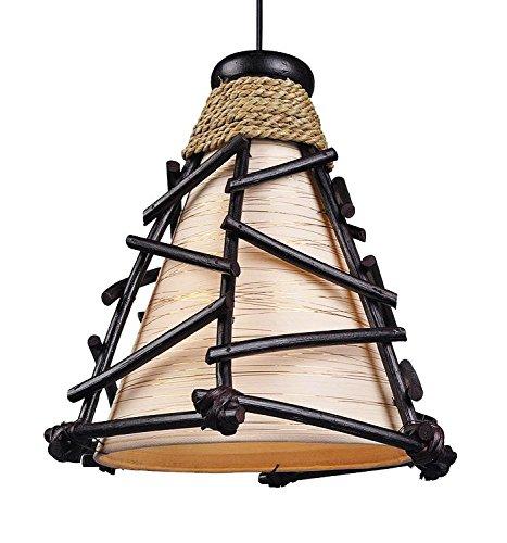 TEMPELWELT Dekoleuchte Design Deko Lampe Romy 30 cm hoch, Deckenleuchte Pendelleuchte aus Naturmaterialien Zweige Rattan braun, Stoff Natur Gold, Stimmungslicht