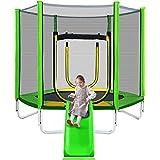 Trampoline for Kids with Slide , 7FT Kids Slide Trampoline with Safety Enclosure Net, Easy Assembly Recreational Toddler Trampoline for Indoor/Outdoor ,Green
