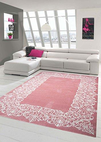 Traum Teppich Designerteppich Moderner Teppich Wohnzimmerteppich Kurzflor Teppich mit Bordüre Rosa Weiß, Größe 200x290 cm