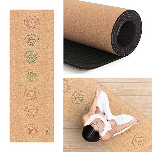 ZenYogaWedge Esterilla de yoga de corcho para chakra material natural Para mujeres o hombres Meditación Pilates Ab entrenamiento en casa Ejercicio Fitness Movilidad Agarre antideslizante ecológico