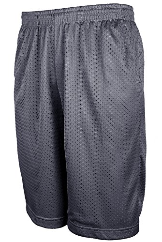 TOP LEGGING Mens Athletic Basketball Shorts, Active Workout Big and Tall Shorts with Pockets MESH_DKGREY 4XL