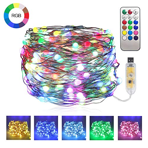 JMEXSUSS Color Changing Fairy Lights with Remote, 66ft 200 LED Copper Wire String Lights USB Powered, Waterproof Twinkle Lights on Timer Flexiable Firefly Lights