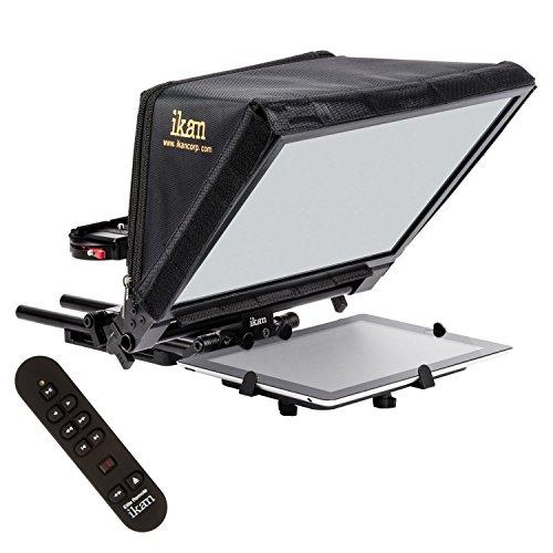 Ikan Elite Generation 2 Universal Large Tablet Teleprompter for Surface Pro & Ipad Pro, Beam Splitter 70/30 Glass w/Remote (PT-ELITE-V2-RC) - Black