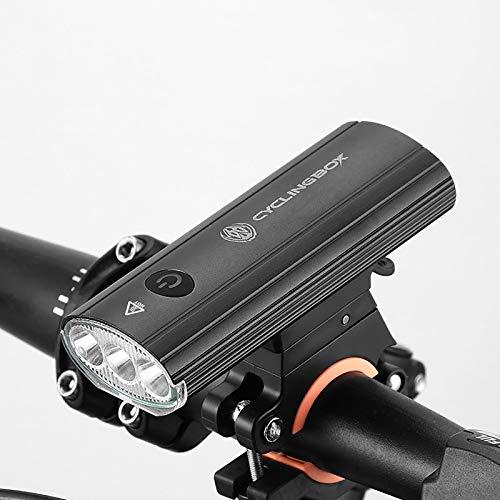 QY-Youth Luz Bicicleta Led Alta Potencia 750 Lúmenes, Luces Bicicleta Recargable USB Delantera con Pantalla Led, Luz Bici de Montaña 5 Modes y Luz Bici Trasera