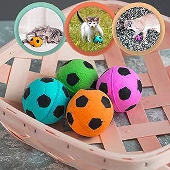 HEREB Boule de Mousse,12 Pcs Mousse Ballons De Football Jouet pour Chat Doux Balles en Mousse pour Animaux Silencieux Bouncy Interactive Ball Jouets