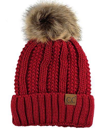 C.C Thick Cable Knit Faux Fuzzy Fur Pom Fleece Lined Skull Cap Cuff Beanie, Red
