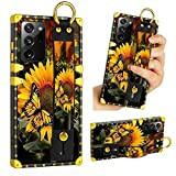 LSL Samsung Galaxy Note 20 Ultra 5G Case, Sunflower Butterfly Upgraded Wrist Strap Band Kickstand Square Full Body TPU Bumper Shockproof Protective Phone Case for Galaxy Note 20 Ultra 2020