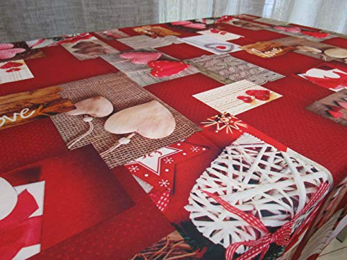 Mantel redondo antimanchas, diseño Shabby de Navidad, 100 % impermeable, tamaño x 180 cm de diámetro.